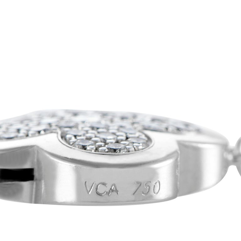 Van Cleef & Arpels Vintage Alhambra Diamond Pavé 14 Motif White Gold Necklace For Sale 1