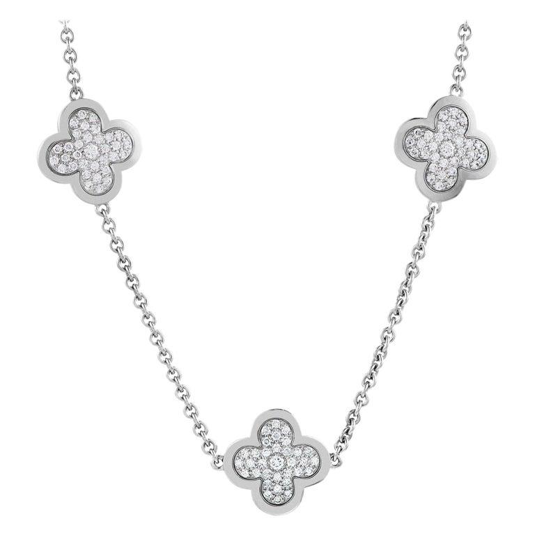 Van Cleef & Arpels Vintage Alhambra Diamond Pavé 14 Motif White Gold Necklace For Sale