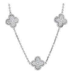 Van Cleef & Arpels Vintage Alhambra Diamond Pavé 14 Motif White Gold Necklace