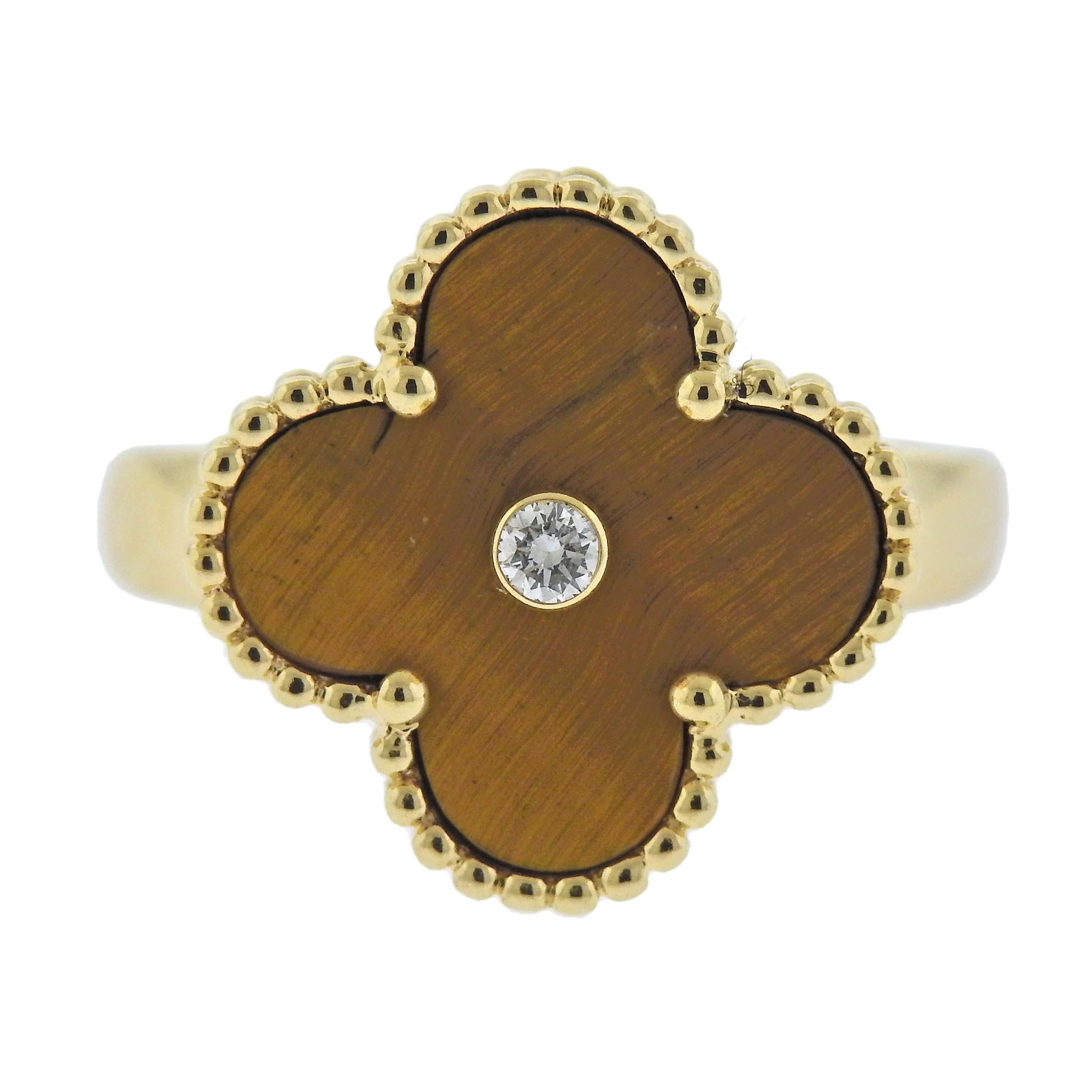Van Cleef & Arpels Vintage Alhambra Diamond Tiger's Eye Ring