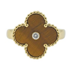 Van Cleef & Arpels Vintage Alhambra Diamond Tiger's Eye Ring