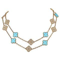 Van Cleef & Arpels Vintage Alhambra Diamond / Turquoise 20 Motif Necklace