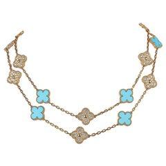 Van Cleef & Arpels Vintage Alhambra Diamond / Turquoise 20 Motif Necklace New