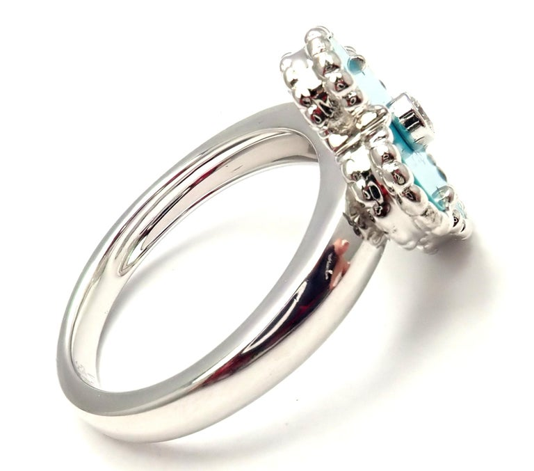 Brilliant Cut Van Cleef & Arpels Vintage Alhambra Diamond Turquoise White Gold Ring For Sale