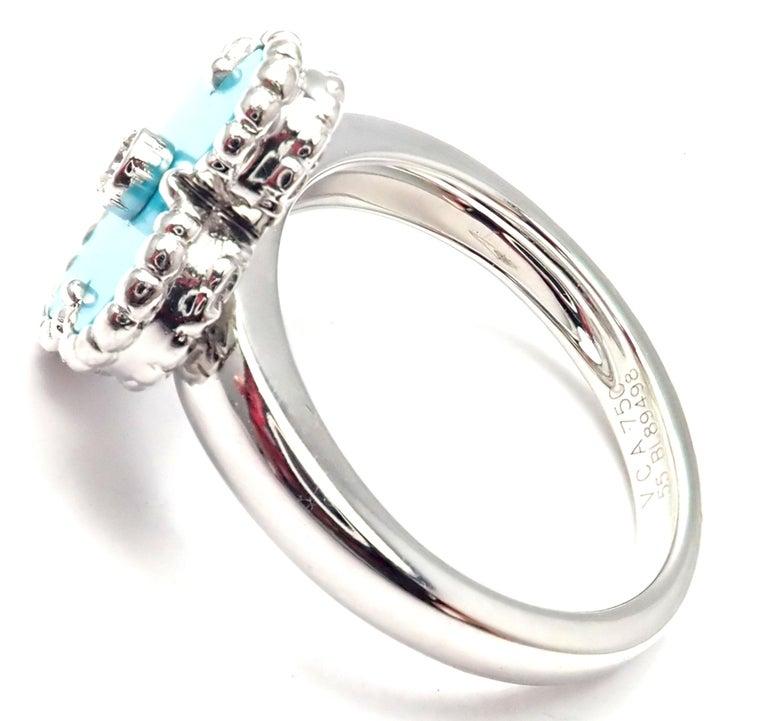 Women's or Men's Van Cleef & Arpels Vintage Alhambra Diamond Turquoise White Gold Ring For Sale