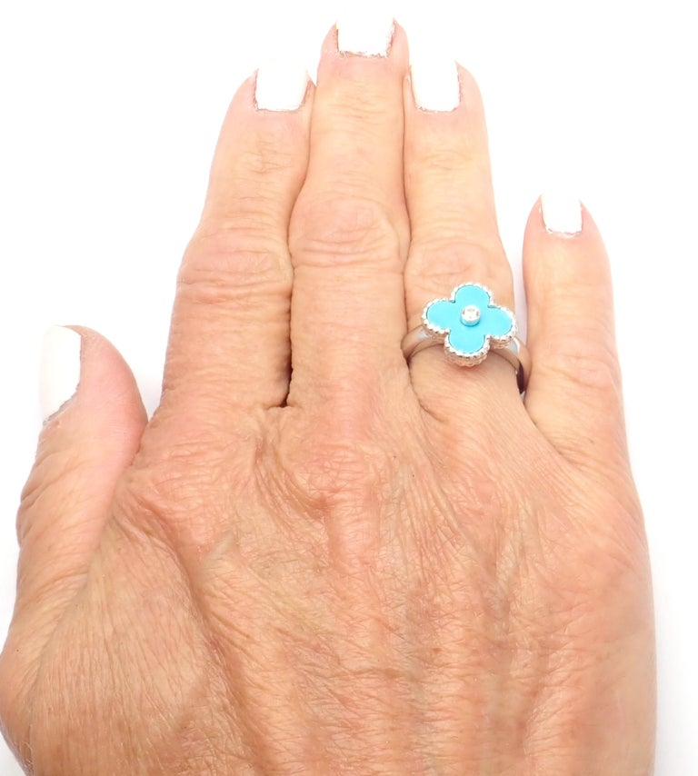 Van Cleef & Arpels Vintage Alhambra Diamond Turquoise White Gold Ring For Sale 2