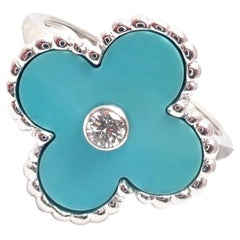 Van Cleef & Arpels Vintage Alhambra Diamond Turquoise White Gold Ring