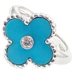 Van Cleef & Arpels Vintage Alhambra Diamond Turquoise White Gold Ring