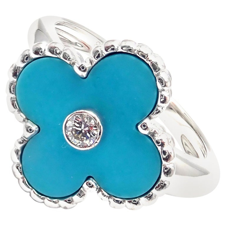 Van Cleef & Arpels Vintage Alhambra Diamond Turquoise White Gold Ring For Sale