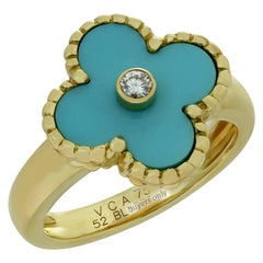 Van Cleef & Arpels Vintage Alhambra Diamond Turquoise Yellow Gold Ring