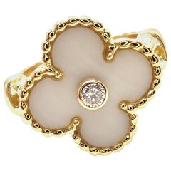 Van Cleef & Arpels Vintage Alhambra Diamond White Coral Yellow Gold Ring
