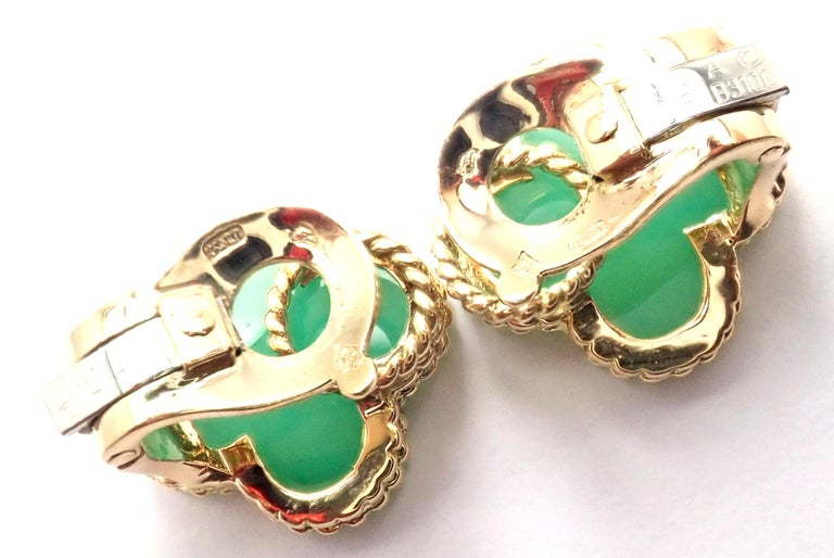 Van Cleef & Arpels Vintage Alhambra Green Chalcedony Yellow Gold Earrings For Sale 1