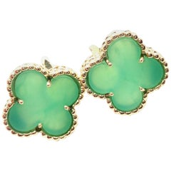 Van Cleef & Arpels Vintage Alhambra Green Chalcedony Yellow Gold Earrings