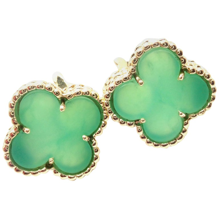 Van Cleef & Arpels Vintage Alhambra Green Chalcedony Yellow Gold Earrings For Sale