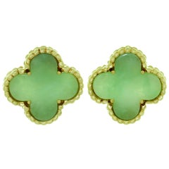 Van Cleef & Arpels Vintage Alhambra Green Jade Yellow Gold Earrings