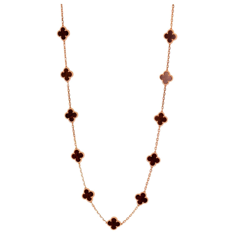 Van Cleef & Arpels Vintage Alhambra Hard Wood 20 Motif Gold Necklace