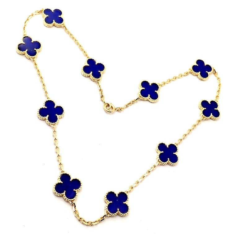 Van Cleef & Arpels Vintage Alhambra Lapis Lazuli 10 Motif Yellow Gold Necklace For Sale 5