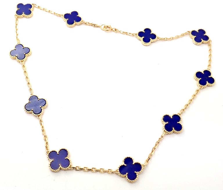 Van Cleef & Arpels Vintage Alhambra Lapis Lazuli 10 Motif Yellow Gold Necklace For Sale 6