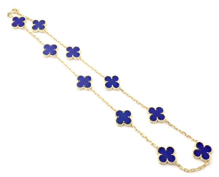 Uncut Van Cleef & Arpels Vintage Alhambra Lapis Lazuli 10 Motif Yellow Gold Necklace For Sale