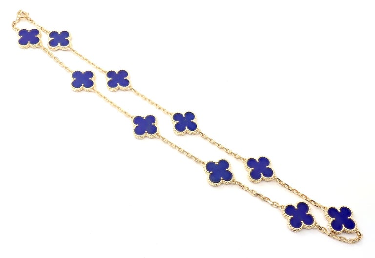Women's or Men's Van Cleef & Arpels Vintage Alhambra Lapis Lazuli 10 Motif Yellow Gold Necklace For Sale
