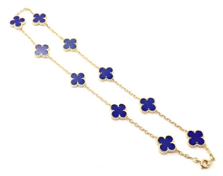Van Cleef & Arpels Vintage Alhambra Lapis Lazuli 10 Motif Yellow Gold Necklace For Sale 1
