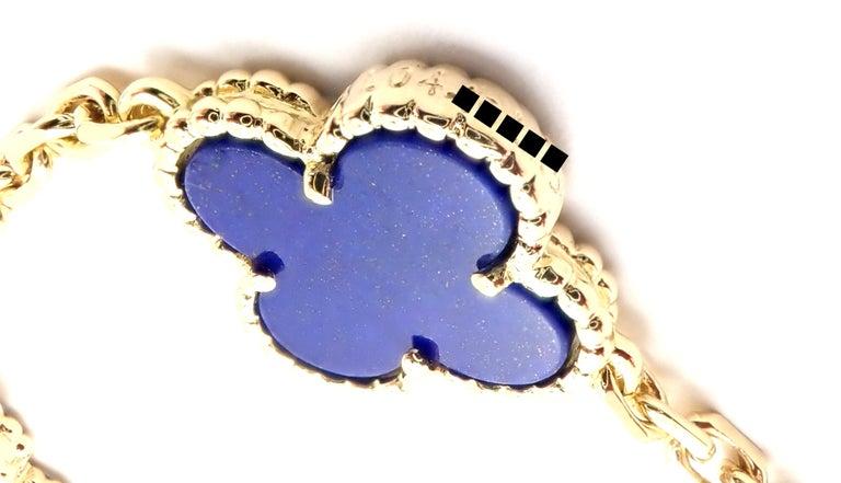 Van Cleef & Arpels Vintage Alhambra Lapis Lazuli 10 Motif Yellow Gold Necklace For Sale 2