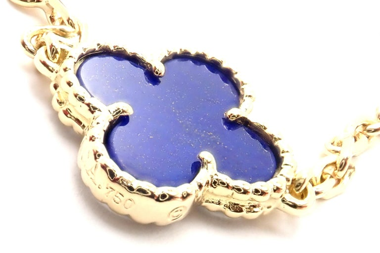 Van Cleef & Arpels Vintage Alhambra Lapis Lazuli 10 Motif Yellow Gold Necklace For Sale 3