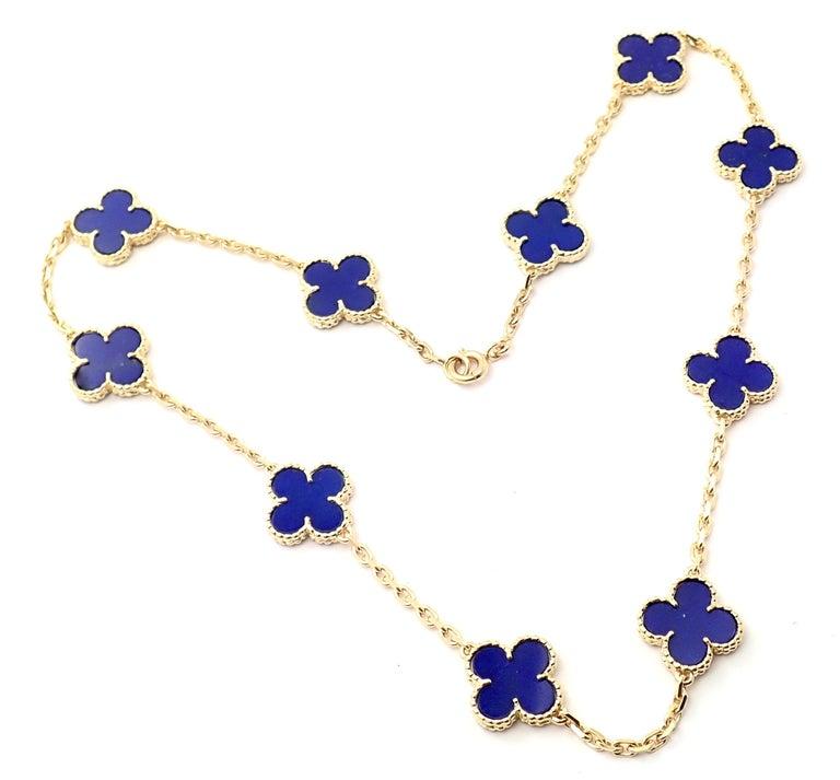 Van Cleef & Arpels Vintage Alhambra Lapis Lazuli 10 Motif Yellow Gold Necklace For Sale 4