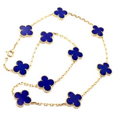 Van Cleef & Arpels Vintage Alhambra Lapis Lazuli 10 Motif Yellow Gold Necklace