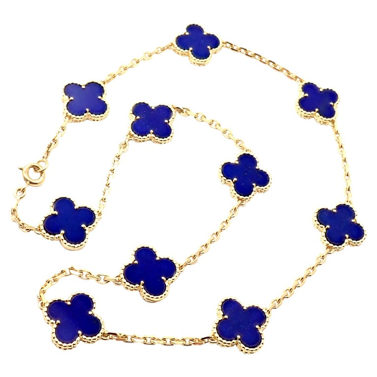 Van Cleef & Arpels Vintage Alhambra Lapis Lazuli 10 Motif Yellow Gold Necklace For Sale