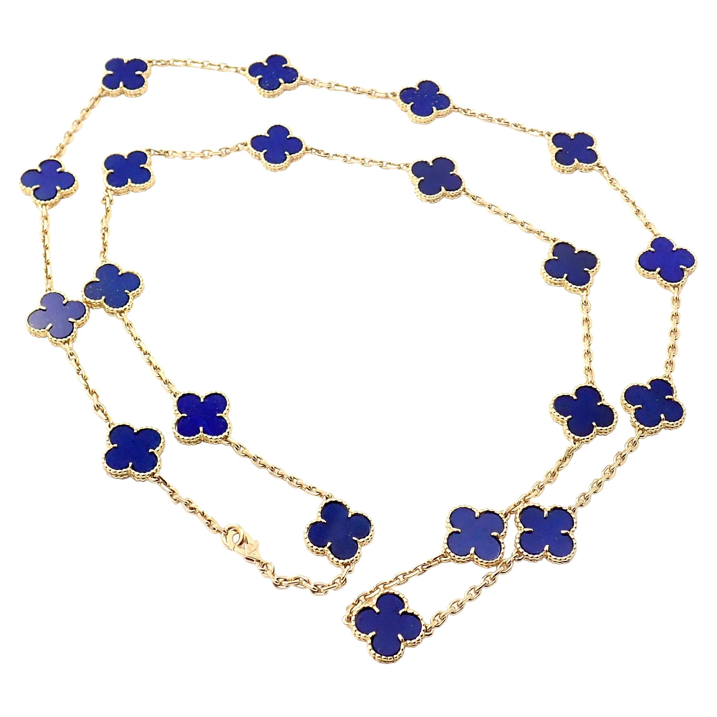 Van Cleef & Arpels Vintage Alhambra Lapis Lazuli 20 Motif Yellow Gold Necklace