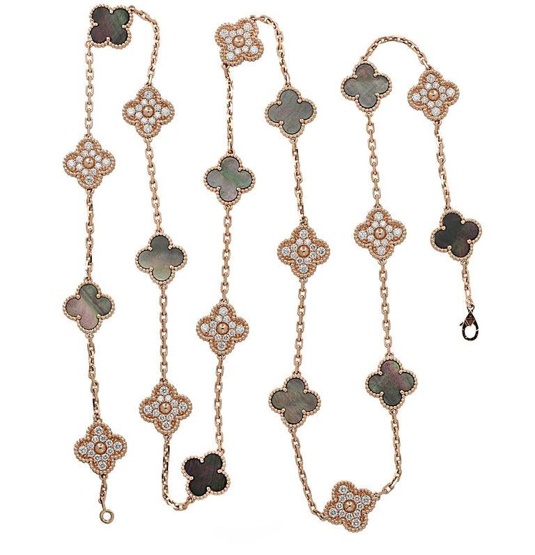 Modern Van Cleef & Arpels Vintage Alhambra Long Necklace, 20 Motifs For Sale