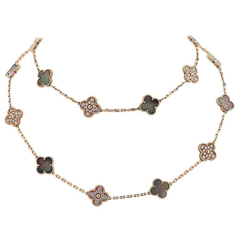 Van Cleef & Arpels Vintage Alhambra Long Necklace, 20 Motifs For Sale