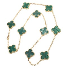 Van Cleef & Arpels Vintage Alhambra Malachite 10 Motif Gold Necklace