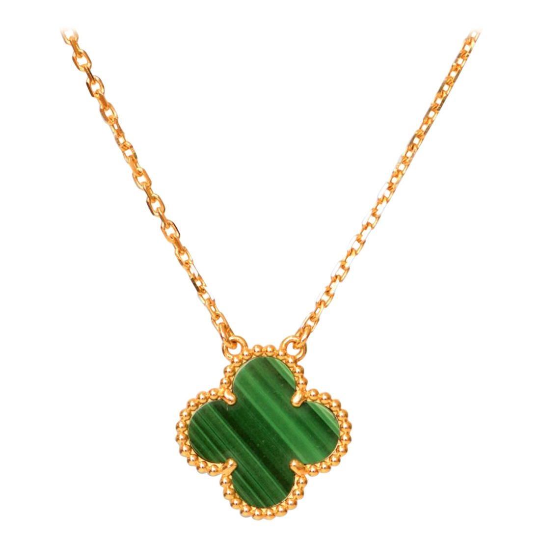 Van Cleef & Arpels Vintage Alhambra Malachite 18 Karat Yellow Gold Pendant