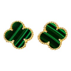 Van Cleef & Arpels Vintage Alhambra Malachite 18k Yellow Gold Earrings