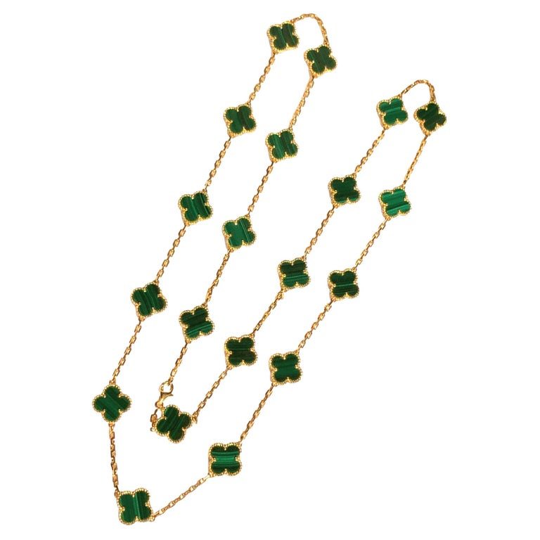 Van Cleef & Arpels Vintage Alhambra Malachite 20 Motif Gold Necklace For Sale