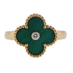 Van Cleef & Arpels Vintage Alhambra Malachite Diamond Gold Ring