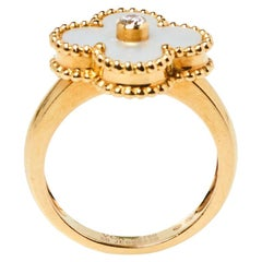 Van Cleef & Arpels Vintage Alhambra Mother of Pearl 18K Yellow Gold Ring Size 50