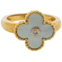 Van Cleef & Arpels Vintage Alhambra Mother of Pearl Diamond 18K  Ring Size 58