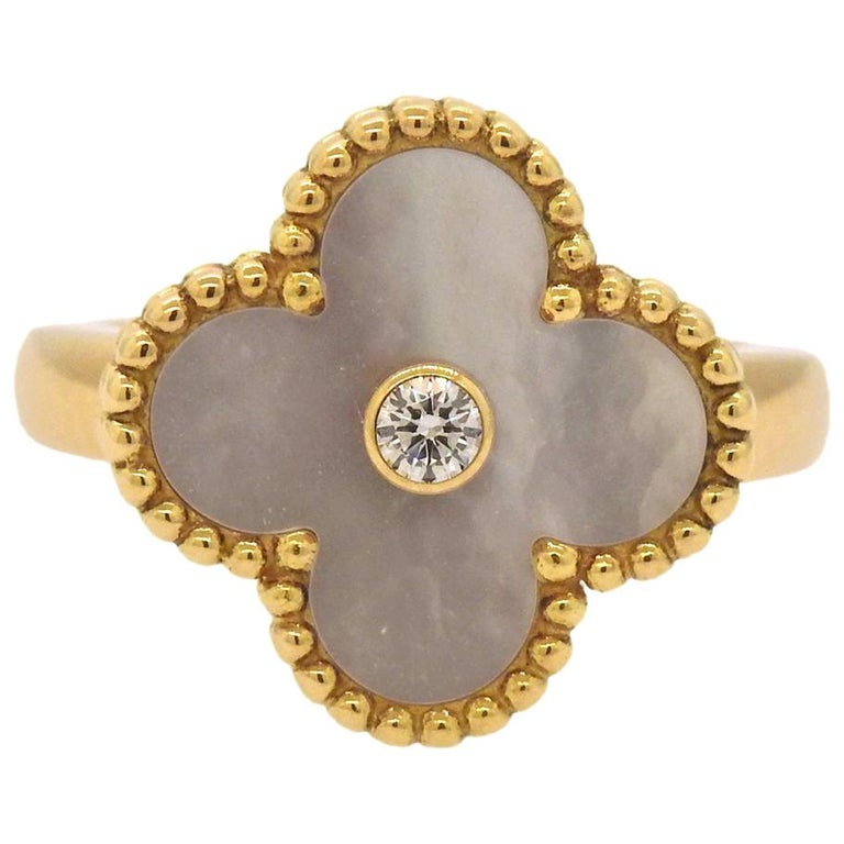 0c86ccf971 Van Cleef   Arpels Vintage Alhambra Mother-of-Pearl Diamond Gold Ring For  Sale