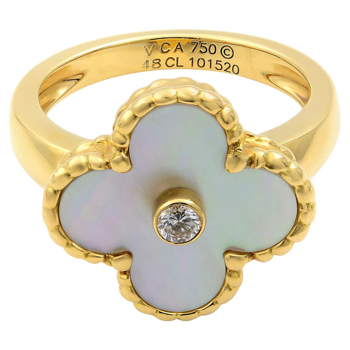Van Cleef & Arpels Vintage Alhambra Mother of Pearl Diamond Gold Ring