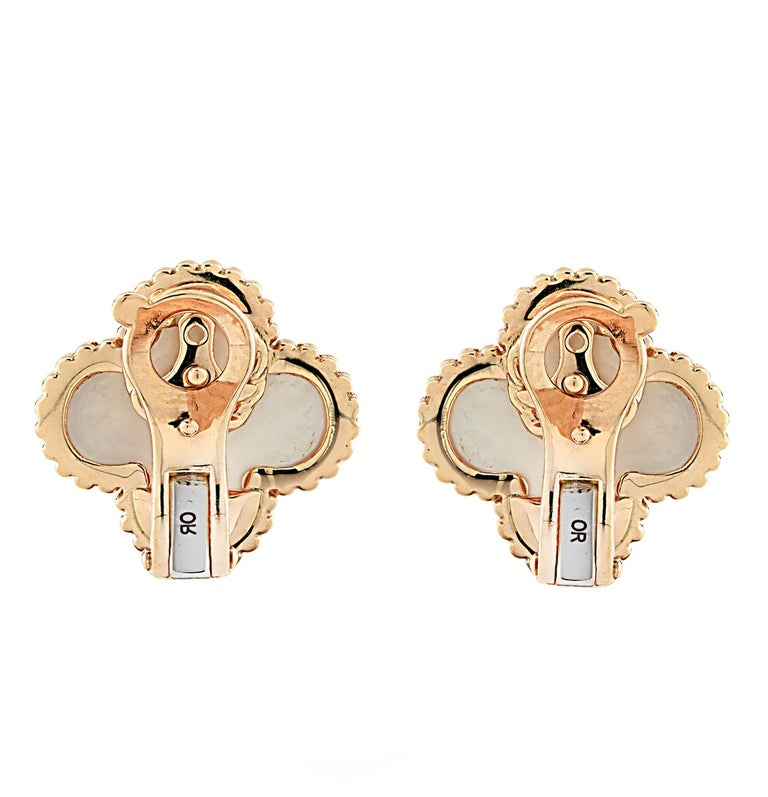Modern Van Cleef & Arpels Vintage Alhambra Mother of Pearl Earrings For Sale