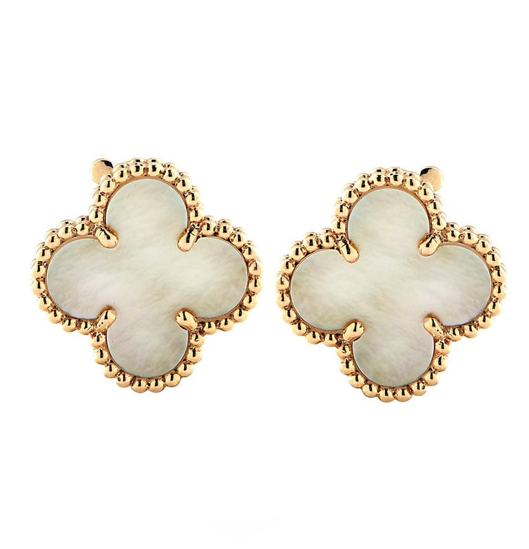 Women's Van Cleef & Arpels Vintage Alhambra Mother of Pearl Earrings For Sale