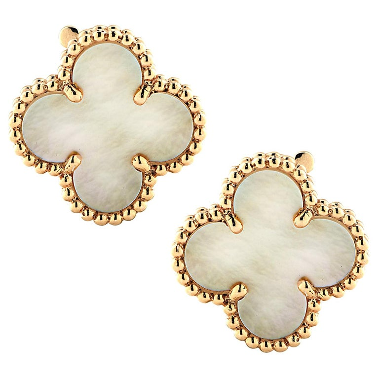 Van Cleef & Arpels Vintage Alhambra Mother of Pearl Earrings For Sale