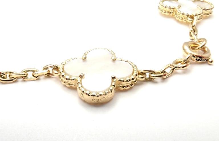 Van Cleef & Arpels Vintage Alhambra Mother of Pearl Ten Motif Gold Necklace For Sale 6