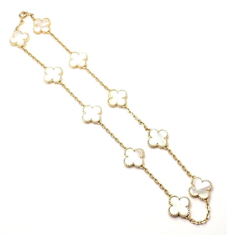 Women's or Men's Van Cleef & Arpels Vintage Alhambra Mother of Pearl Ten Motif Gold Necklace For Sale
