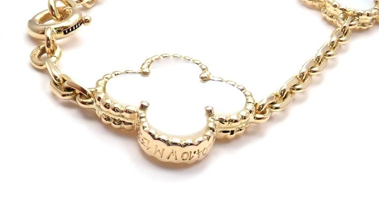 Van Cleef & Arpels Vintage Alhambra Mother of Pearl Ten Motif Gold Necklace For Sale 1