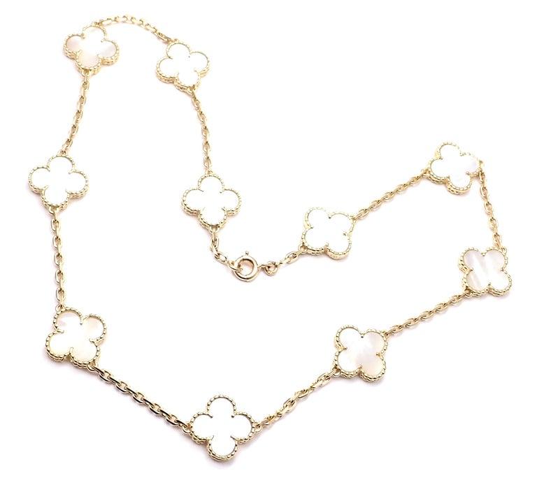 Van Cleef & Arpels Vintage Alhambra Mother of Pearl Ten Motif Gold Necklace For Sale 3
