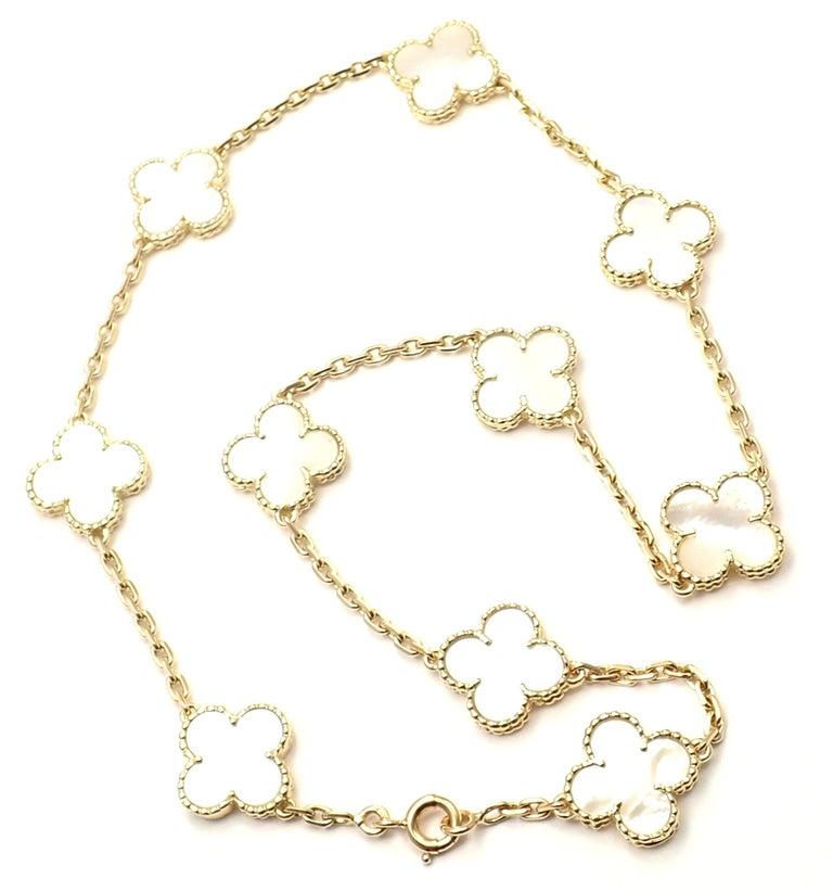 Van Cleef & Arpels Vintage Alhambra Mother of Pearl Ten Motif Gold Necklace For Sale 4